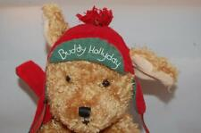 Buddy Hollyday Hallmark Bunnies By The Bay Brown Puppy Dog Red Green Hat Plush