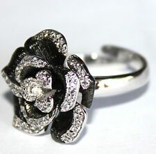 Love Beauty for Ashes Ring Rose Black Flower Glitzy Glam CZ Adjustable Size 8