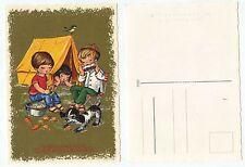 17426 - Hartelijk Gefeliciteerd - Kinder beim Zelten - alte Ansichtskarte