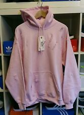 Distressed ripped baby pink hoodie by 9DEUCE  sweatshirt sweat shirt S Small