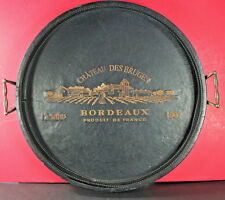 Large Leather Chateau Des Bruges Bordeaux Serving Tray 19""
