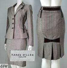 KAREN MILLEN brown TWEED skirt suit JACKET 1940'S WW2 velvet bow RETRO 10 RARE!
