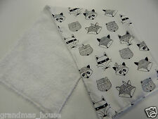 Tribal Foxes and Badgers - Black on White Burp Cloth -1 Only Toweling Back