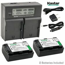 LCD Dual Fast Charger & 2 x Battery for Sony NP-FH50 DSC-HX1 HX100V Alpha A390