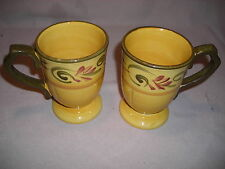 SOUTHWESTERN PESDESTAL MUGS/CUPS - USED- SET OF 2 CUPS-8 OZ-MADE IN CHINA