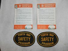 RARE 1950'S YOUTH GUN SAFETY PROGRAM PATCH 2 FELT PATCHES HUNTING NOS MUST SEE