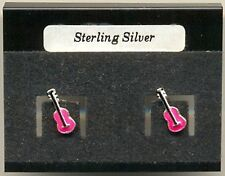 Pink Guitar Sterling Silver 925 Studs Earrings Carded