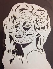 Sugar Skull Girl mylar reusable stencil 10 mils  for Airbrush design art & craft