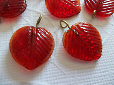 12 Ruby Red Glass Leaf Charms Beads Leaves with Brass Loops 16mm