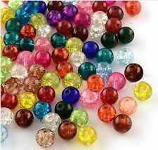 200 CRACKLE GLASS BEADS 6mm MIXED COLOURS FOR JEWELLERY MAKING AND CRAFTS B12
