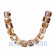 Bulk 50pcs Gold Champagne Glass Crystal Faceted Cube Beads 6mm Spacer Findings