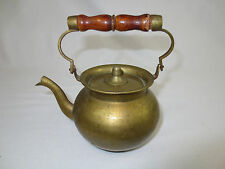 "Vintage, Metal & BRASS TEA POT, Shelf or Hanging Decoration, 5.5"" w Handle Up"