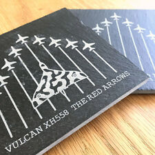 The Red Arrows + Vulcan XH558 SET OF 2 - Slate Coasters Fathers Day Gift Present