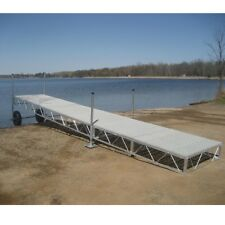 32' foot Aluminum Roll In outdoor portable Boat wood Dock With poly Decking