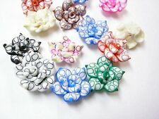 12pc Mix Color Handmade Polymer Clay Flower Beads-382 D