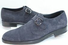 Tod's Men's Blue Shoes Loafers Monk Strap Size 9 Drivers Dress Suede NIB