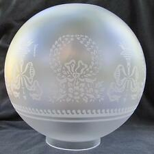 "10"" Bows & Wreaths BALL SHADE 4"" fitter glass for old oil,banquet, GWTW lamp Cr"