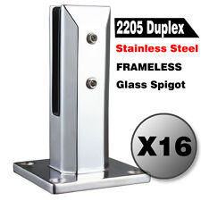16 X Frameless Glass Spigots Post Deck Fence Balustrade, 2205 Stainless Steel