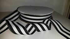 "5 yards 38mm (1.5"")  wide BLACK/WHITE WOVEN STRIPE DOUBLE SIDED RIBBON"