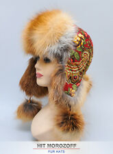 Red FOX Fur Russian Ushanka Aviator Hat Pavlov Posad Wool Shawl Pelzmütze Ski