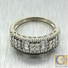 Vintage Estate 14k Solid White Gold Round Baguette Diamond Band Ring Filigree