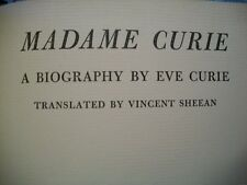 Madame Curie A Biography by Eve Curie (1938 Hardcover)