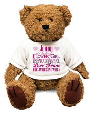 BIG Personalised Teddy Bear FLOWER GIRL Gift Idea Wedding Thank you Custom #18