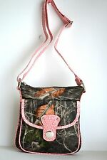 WESTERN CAMO MOSSY REAL TREE PINK CROSS BODY MESSENGER SATCHEL BAG PURSE GREEN