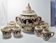 VINTAGE GERZ GERMAN STEIN LIDED PUNCH BOWL CASTLE THEMED W/ 8 MUGS Free Shipping