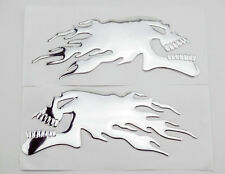 Silver 3D Skull Flame Soft Gas Tank Badge Fairing Body Decal Sticker For Harley