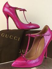 NIB GUCCI BEVERLY FUCHSIA CRACKED LEATHER T-STRAP KNOTTED BOWS PUMPS 39 9 $695