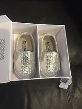 "Michael Kors Baby Slip On""Ivy Alli Silver Size 3 Shoes Crib New Girls 6-9 Months"