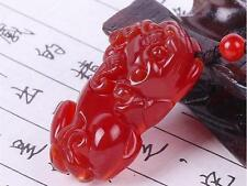 China's fashion natural red agate hand-carved pixiu pendant necklace