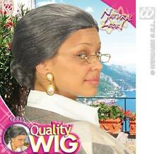 Ladies Dark Grey Nan Wig With Bob Old Woman Gran Grandma Fancy Dress