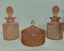 Vintage 3 Piece PINK DepressIon Glass Dresser-Vanity Set LOVELY!