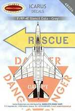 Icarus Decals 1/48 MCDONNELL DOUGLAS F-4E RF-4E PHANTOM II GRAY STENCIL DATA
