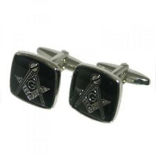 High Quality Black & Silver Plated Masonic with  G Cufflinks