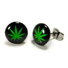 STAINLESS STEEL POST EARRINGS MARIJUANA LEAF Pot Cannabis Weed Pair Stud Jewelry