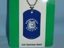 UCONN Connecticut HUSKIES   Stainless Steel LASER TAG MEDALLION on chain   NIP