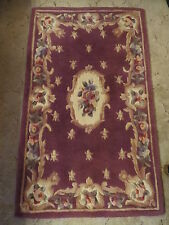 "B. FAB HAND TUFTED & CARVED Oriental Chinese PLUM Wool Rug 4'2"" x 2'6"" FLOWERS!"
