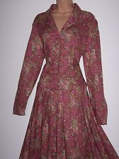 NWT Laura Ashley vintage blush floral autumn/winter dress, rear tie size 16 UK