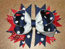 "NEW ""Patriotic Navy Dots"" Hairbow Grosgrain Ribbon Hair Bow Girls 4th of July"