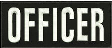 OFFICER embroidery patches 4x10 hook  white letters