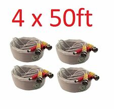 Premium Quality 4x 50ft White Video Power BNC Cable for CCTV Security Cameras