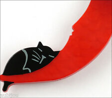 PAVONE RED GALALITH CLAIR DE LUNE BLACK CAT ON THE MOON BROOCH PIN FRANCE RESIN