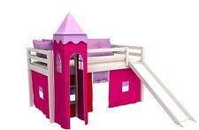 Lit enfant lit mezzanine toboggan+tour+matelas+rideau jeu lit en pin , blanc