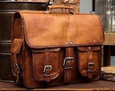 Large Tan Brown Handmade Genuine Leather Satchel Briefcase Laptop Bag RRP £105