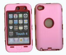 Best Protection Case / Cover for iPOD TOUCH 4 PINK / RED Free Stylus!!!