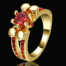 Jewellry Size 8 Cute Red Ruby Gold Rhodium Plated Engagement Ring For Woman's