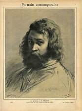 PORTRAIT PEINTRE  Jean François Millet  + L' ANGELUS  1889 GRAVURE ANTIQUE PRINT